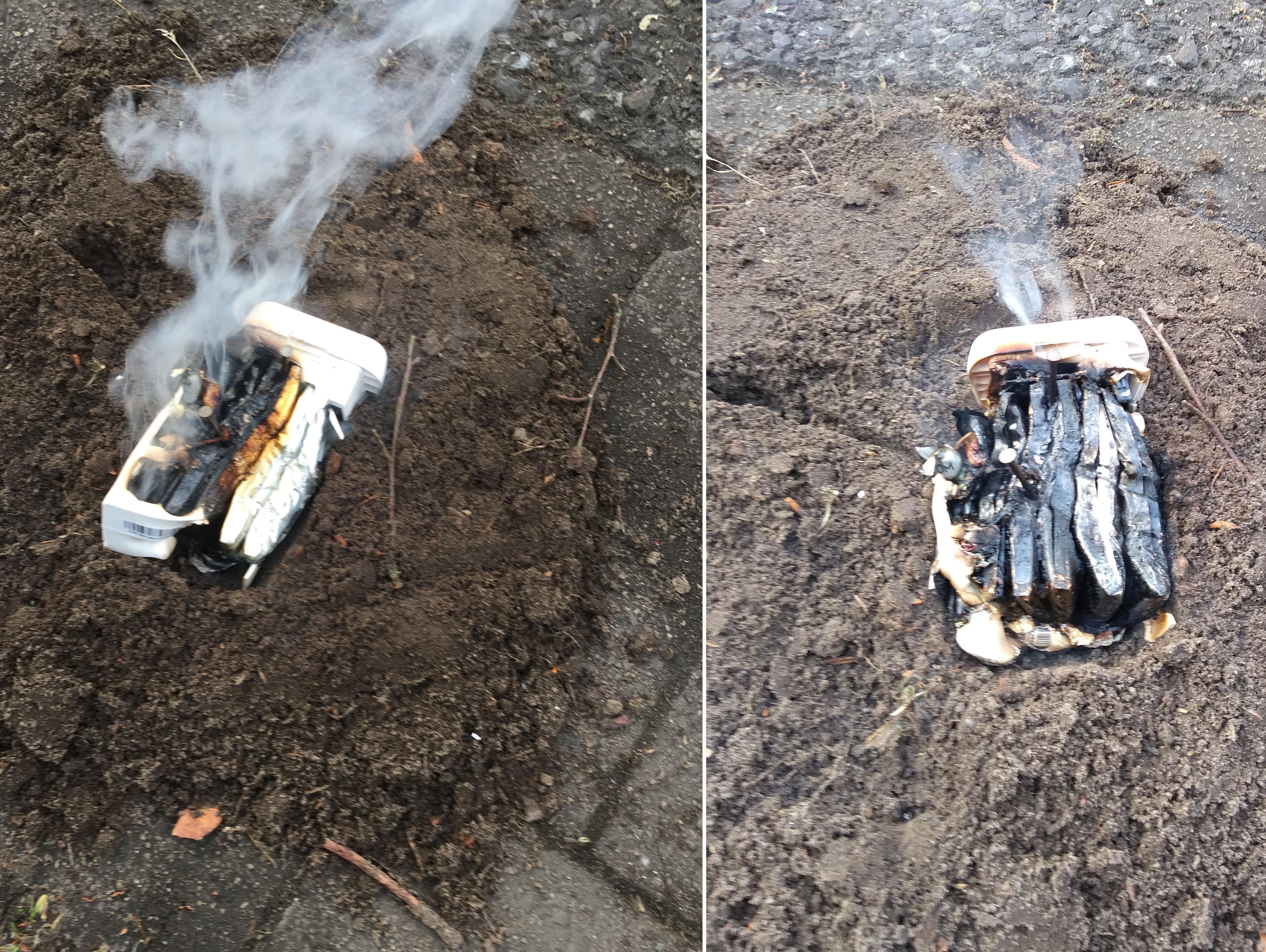 Brennender Lithiumionen-Akku