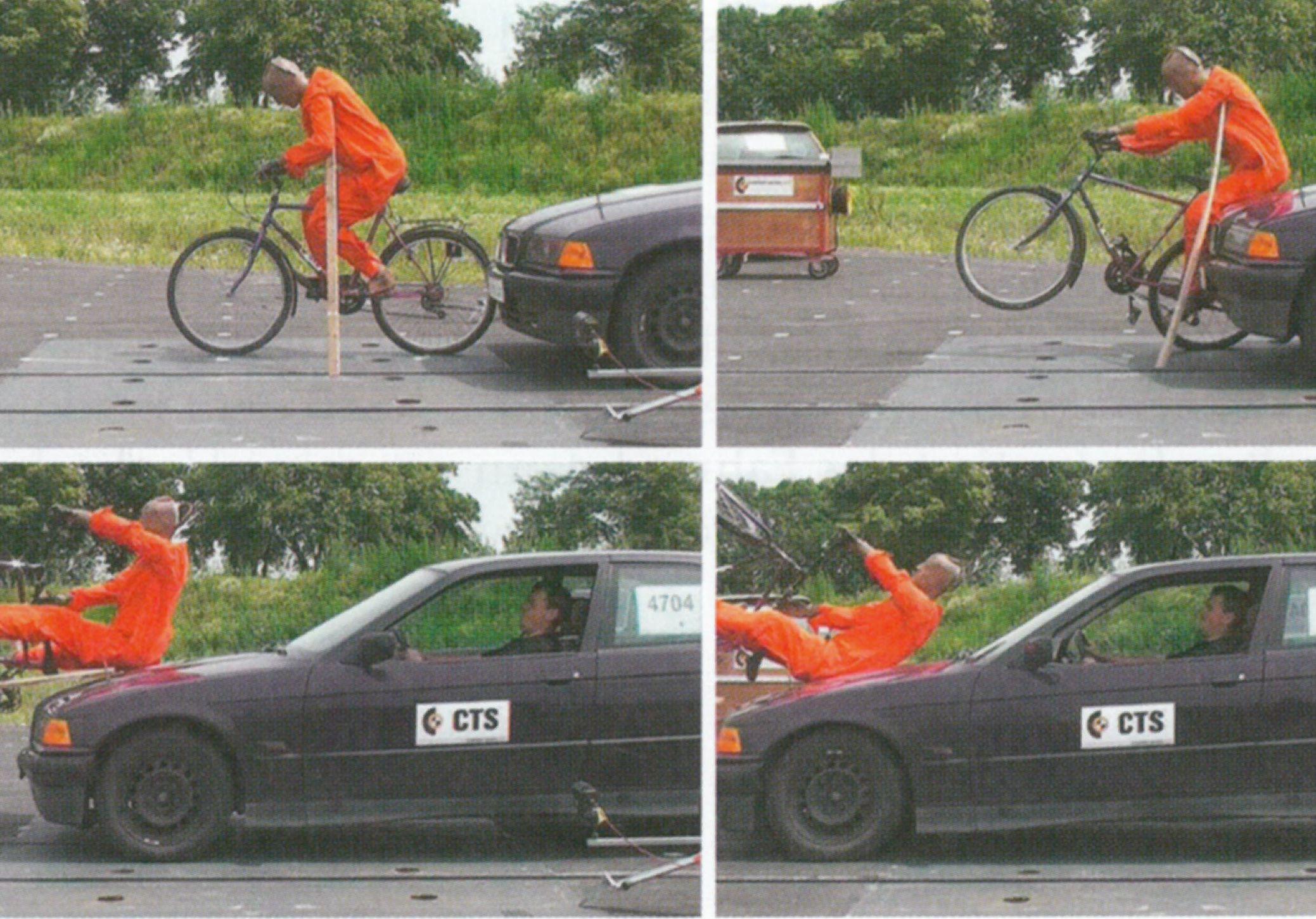 Crashversuch einer Pkw-Radfahrer-Kollision