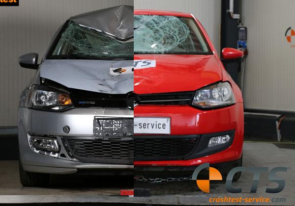 Schadenvergleich: Frontschaden VW Polo bei gleicher Kollisionsgeschwindigkeit von 70 km/h gegen herkömmlichen (links) und biofidelen Dummy (rechts)