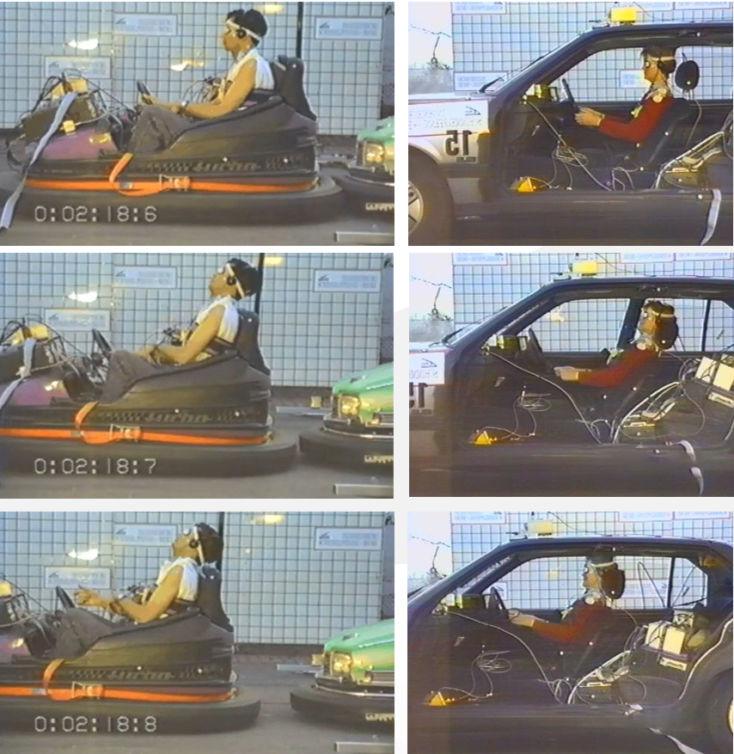 Bewegungsvergleich infolge der Heckkollision zwischen Autoscooter (linke Bildspalte) und Pkw (rechte Bildspalte)