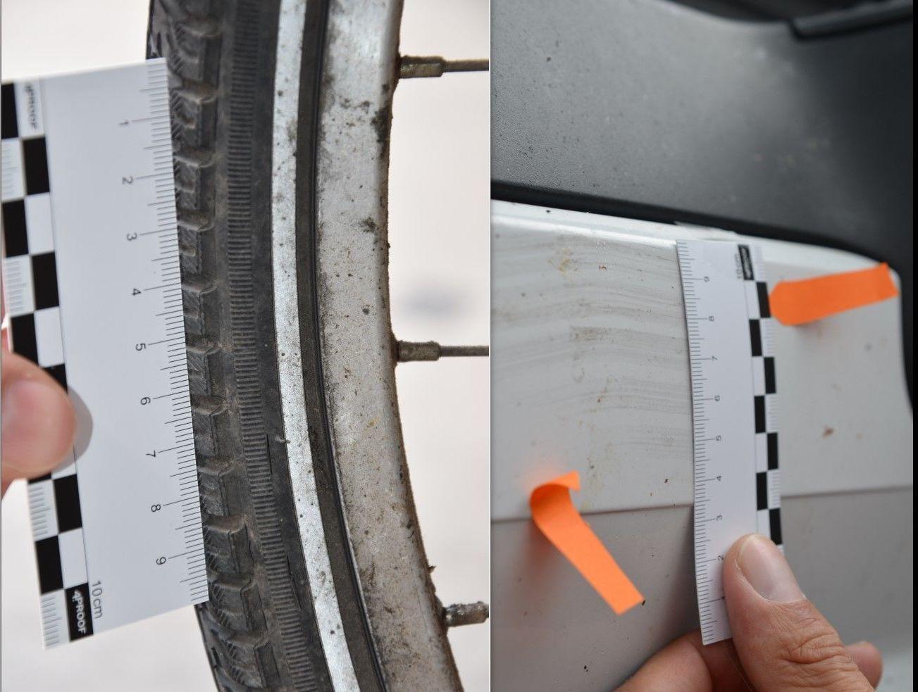 Abgleich des Fahrrad-Reifenprofils mit Kontaktspuren an der Lkw-Front